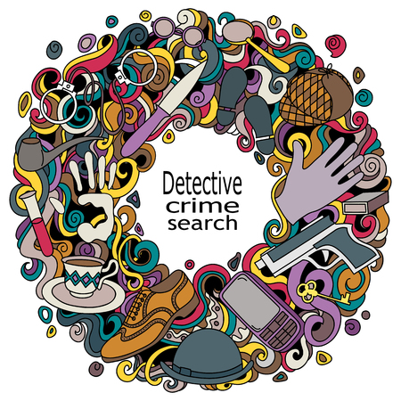 Cartoon cute doodles hand drawn Detective and criminal vector illustration. Colorful detailed, with lots of objects background. Illustration