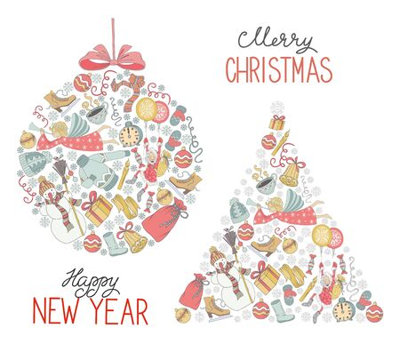 chearful: Vector Merry Christmas set, background with a lot of elements