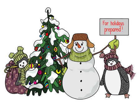 decoratio: Funny snowman and penguin hand drawn cartoon style near a Christmas tree waiting for the onset of the holiday. Vector illustration on white background. Illustration