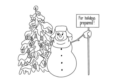 onset: Funny snowman hand drawn cartoon style near a Christmas tree waiting for the onset of the holiday. Vector sketch illustration