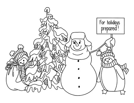 decoratio: Funny snowman and penguin hand drawn cartoon style near a Christmas tree waiting for the onset of the holiday. Vector sketch illustration