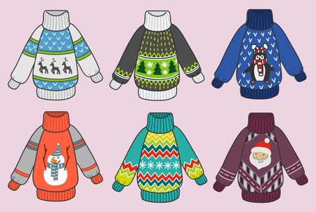 Leuke kleurrijke Kerst sweaters vector set, pullovers party illustraties collectie voor uitnodigingen en wenskaarten