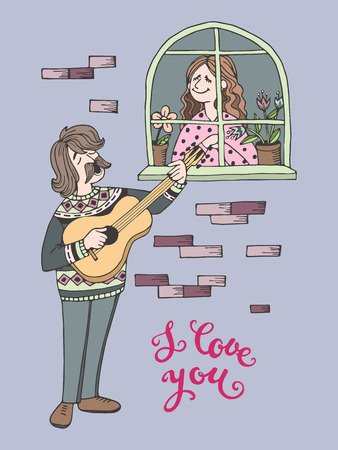 Hand-drawn cartoon man takes a serenade under the window of his beloved. I love you greeting card, vector illustration
