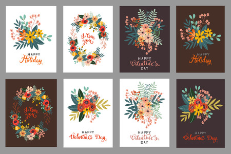 Vector set of vintage postcards Valentines Day with flowers