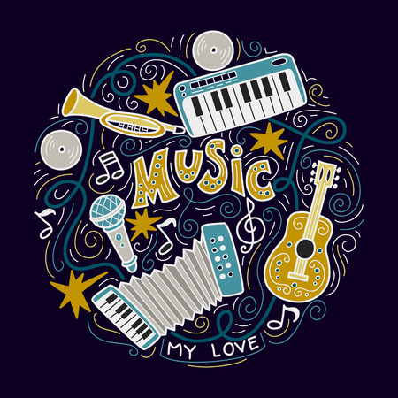 Abstract Music Background ,Collage with musical instruments