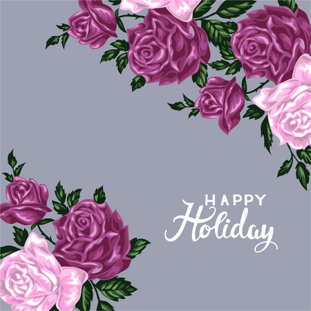 holiday invitation: Hand drawn invitation cards with flowers roses. Happy holiday vector illustration