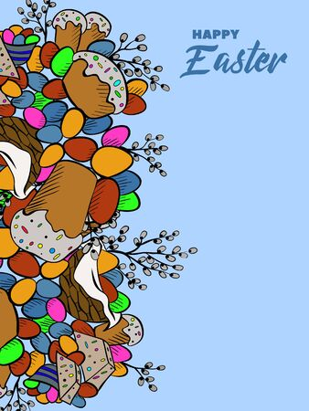 easter cake: Cartoon cute doodles hand drawn Happy Easter background.