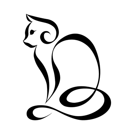Cat silhouette logo.Continuous line