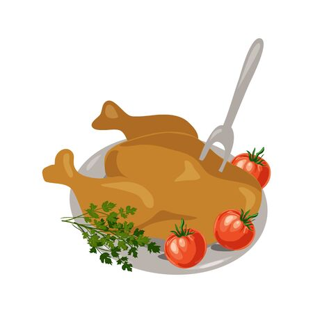Vector illustration thanksgiving day with turkey and vegetables on dish.