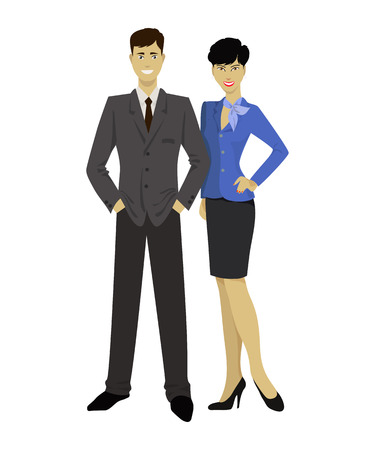 japanese ethnicity: Asian couple, man and woman. Vector