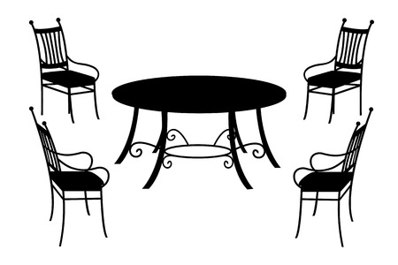 Table and chairs, isolated black silhouette on white