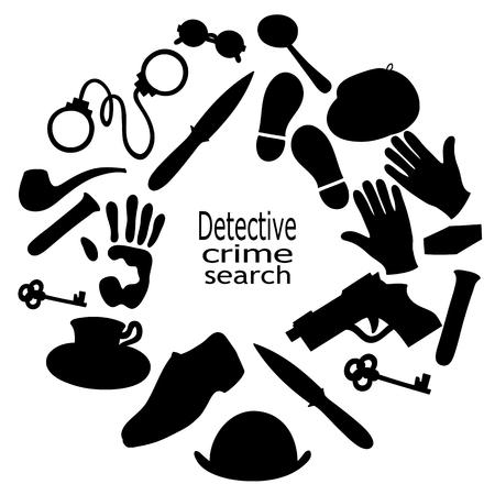 Cartoon cute black doodles hand drawn Detective and criminal illustration. Vector Illustration