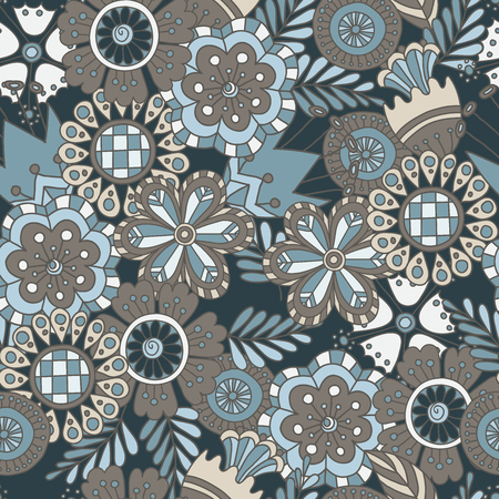 Colorful vector hand drawn seamless pattern with abstract flowers doodles
