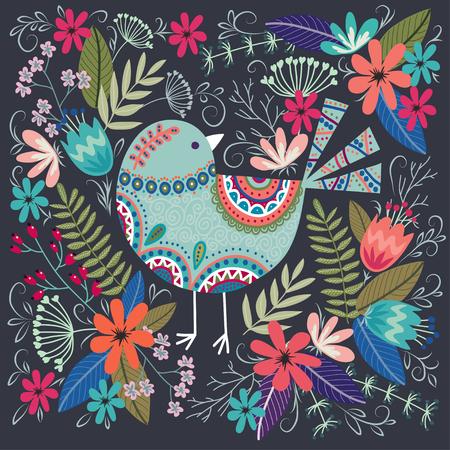 Kolorowa ilustracja wektorowa sztuki z pięknym ptakiem i kwiatami. Ilustracje wektorowe