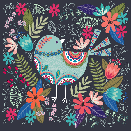 Art vector colorful illustration with beautiful bird and flowers.