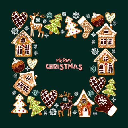 De achtergrond van peperkoekkoekjes met een bewerkbare lege ruimte in het midden. Kerst wenskaartsjabloon.