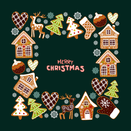 Gingerbread cookies background with an editable blank space in the middle. Christmas greeting card template. Ilustração