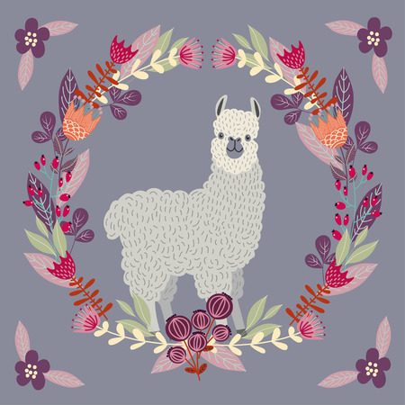 Cute llama with floral wreath in pastel color , template for card and your design. Hand drawing flat doodles vector Illustration