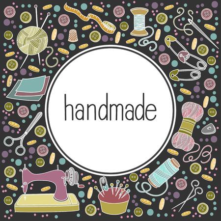Bunte Vektor handgezeichnete Handarbeit mit vielen Objekten Cartoon Doodle, Symbolen und Gegenständen, Schablonenbanner oder Poster