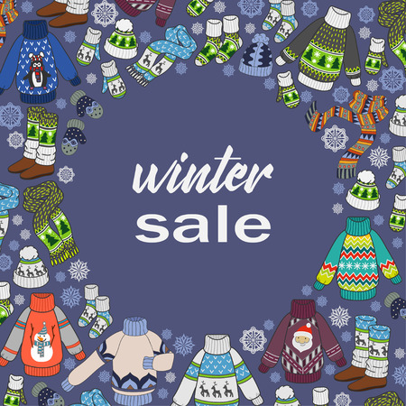 Winter sale, doodles seasonal clothes, color flyer template or postcards for your design. Vector illustration