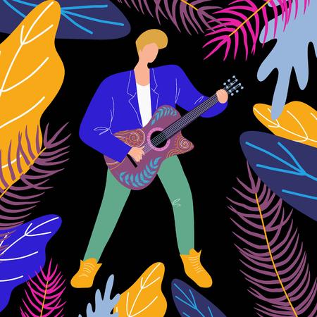 Musikermann, der Gitarre spielt, helle flache Gekritzelvektorillustration mit Gitarrist und Musikinstrument