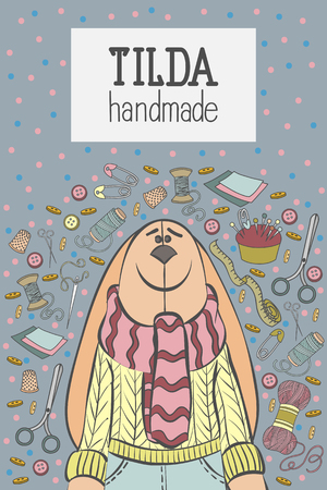 Colorful vector hand drawn Handmade Tilde doll with lot objects cartoon doodle, template banner, flyer or poster