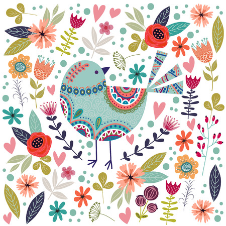Art vector colorful illustration with beautiful abstract folk bird and flowers. Artwork for decoration your interior and for use in your unique design
