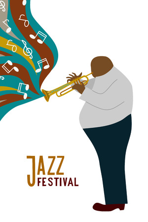 Isolated Black fat man playing trombone cartoon character and notes,jazz festival lettering, flat doodle vector Illustration