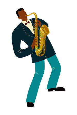 Isolated Black man playing sax cartoon character, flat doodle vector Illustration Stock Illustratie