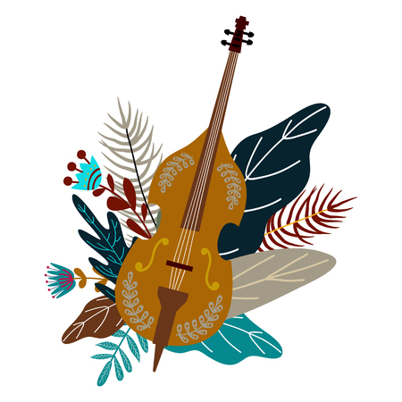Isolated on white background cello and leaves with flowers. Decorative flat doodle element for design, vector illustration Illustration