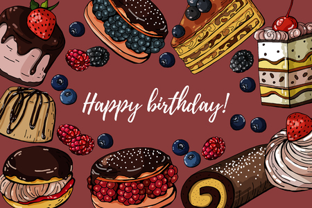 Happy birthday vector hand drawn colored banner with sweets cakes, horizontal background
