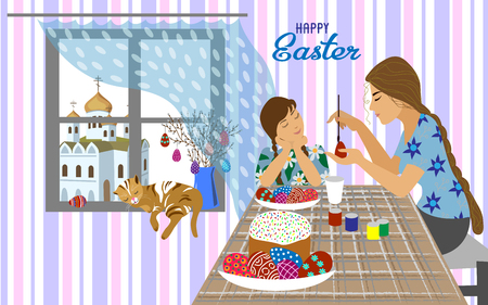Mom and daughter at the table paints Easter eggs and window overlooking the Orthodox church . Horizontal illustration