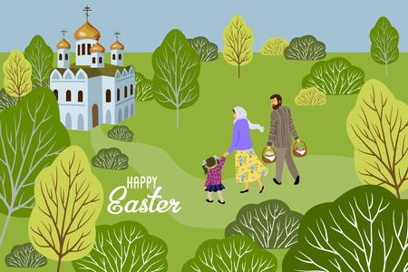Frohe Ostern. Familie mit einem Kind, das in eine orthodoxe Kirche geht, um Eier und Kuchen zu weihen. Horizontaler Vektor