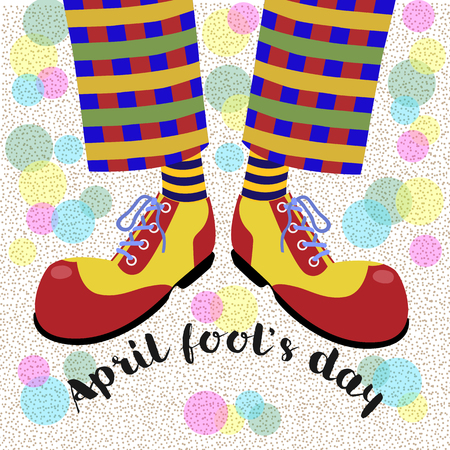 Fool's day. The amusing leggs clown in bright huge shoes . Vector illustration. Illustration