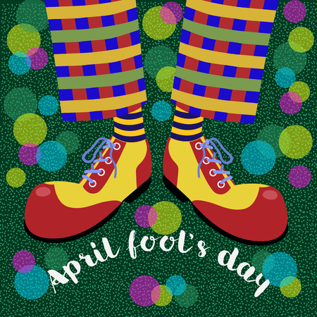 Fools day. The amusing leggs clown in bright huge shoes and bubble blower. Vector