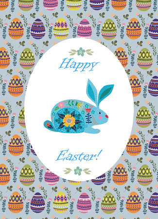 Happy Easter. Templates for cards and flyers with cartoon flat cute easter eggs pattern and rabbit. Vector illustration