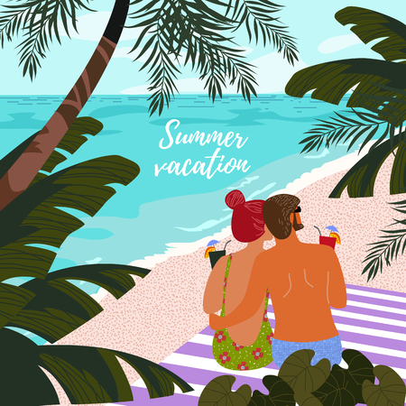 Summer vacation. Cute poster, card or cover with an illustration of a couple man and woman on a background of blue sea, white sand and tropical trees and leaves. Vector illustration Illustration