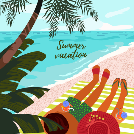Summer vacation. Cute card or poster with a vector illustration of a resting couple on a tropical beach with a refreshing drinks in hands