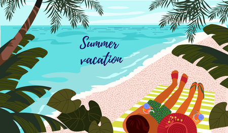 Summer vacation. Cute horizontal card or poster with a vector illustration of a resting couple on a tropical beach with a refreshing drinks in hands