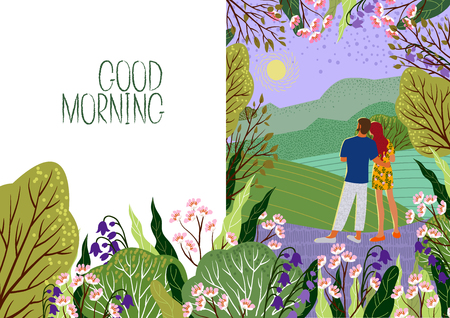 Young couple meets new day. Sunrise, hills, flowers, trees, natural landscape in a trendy flat cute style and empty space for text . Vector illustration for design cards, banners and other 向量圖像
