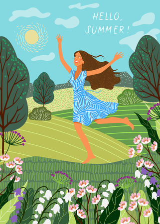 Hello summer. Running joyful girl on the background of fields and meadows. Cute vector illustration.