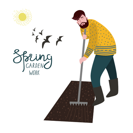 A man cultivate the land with a rake for planting isolated on a white background .Vector illustration in cute flat style. Illustration