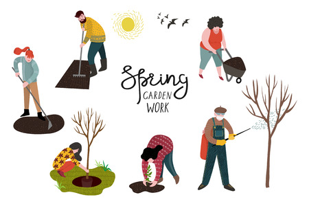 Set of isolated people working in the garden over planting, developing the land and treating trees from pests. Vector