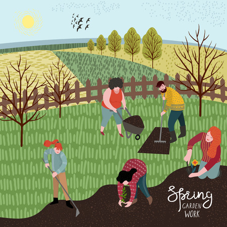 People cultivate the land with a rake and hoe for planting.Vector illustration in cute flat style