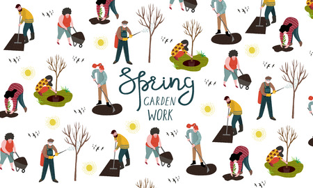 People working in the garden over planting, developing the land and treating trees from pests. Vector illustration in cute flat style.