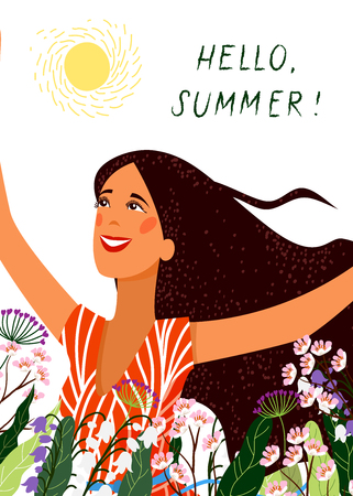 Hello summer. Happy joyful face girl on the white background. Cute Vector Illustration