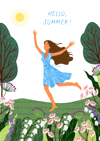 Hello summer. Running joyful girl on the white background. Cute vector illustration.