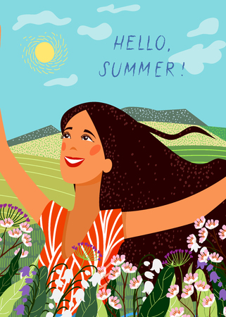 Hello summer. Happy joyful face girl on the background of fields and meadows. Cute Vector Illustration Vettoriali