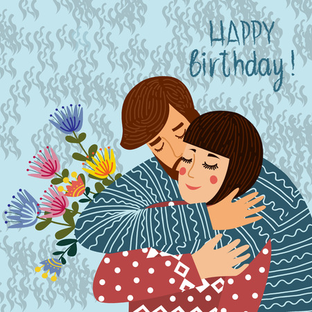 Happy birthday. Man kisses and congratulates a woman, Couple in love with text. Flat cute design vector illustration.