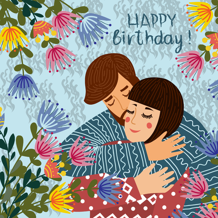 Happy birthday. Man kisses and congratulates a woman, Couple in love with flowers. Flat cute design vector illustration.